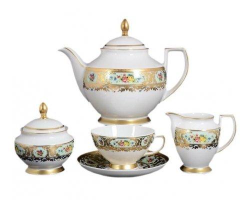 Чайный сервиз на 6 персон 15 предметов Vienna seladon gold Falkenporzellan (Фалкенпорцеллан)