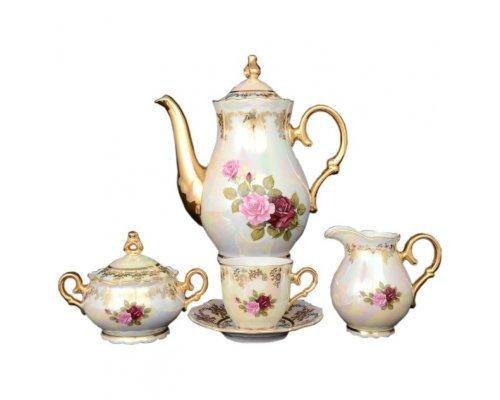 Кофейный сервиз на 6 персон 17 предметов Офелия Роза перламутр Старорольский Фарфор (MZ)
