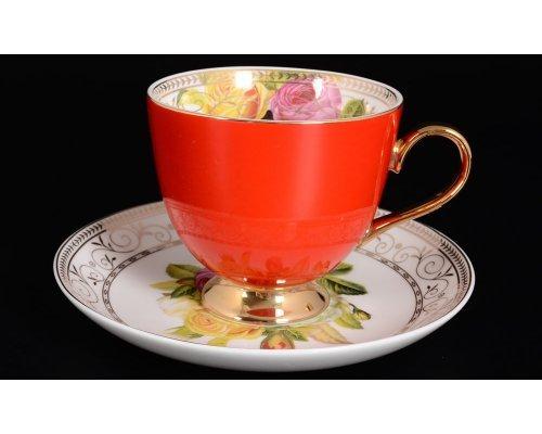 Набор чайных пар 220 мл 6шт Радуга Red