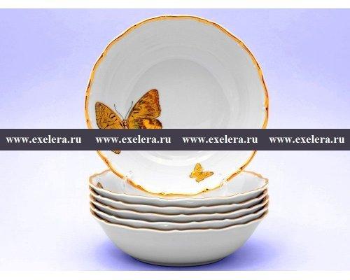 Набор салатников 19 см Магнолия Золотые бабочки Старорольский Фарфор (MZ) (6 шт)