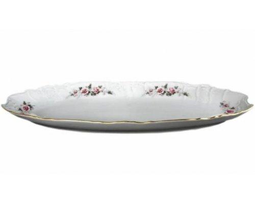 Блюдо для рыбы 52 см Бернадотт Серая роза золото