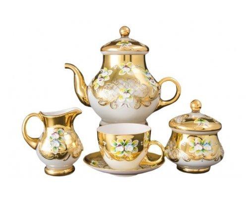 Чайный сервиз на 6 персон 15 предметов Bohemia (Богемия) Лепка Белая E-V