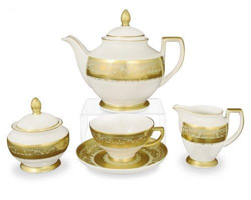 Чайный сервиз на 6 персон 17 предметов Falkenporzellan Cream Majestic Gold