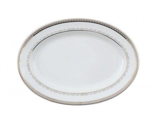 Блюдо овальное 24 см Тхун (Thun) Опал Платиновая лента
