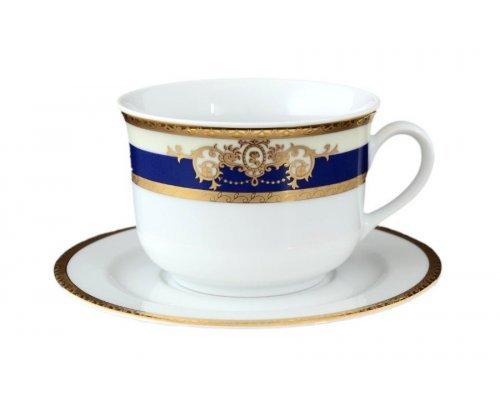Набор чайных пар 280 мл Тхун (Thun) Яна Кобальтовая лента (6 пар)