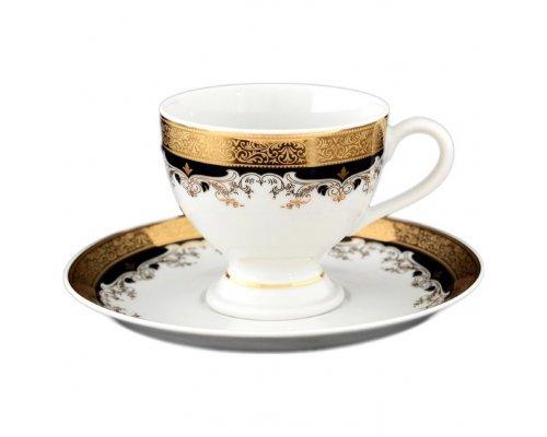 Набор кофейных пар 150 мл Тхун (Thun) Кристина Черная Лилия (6 пар)