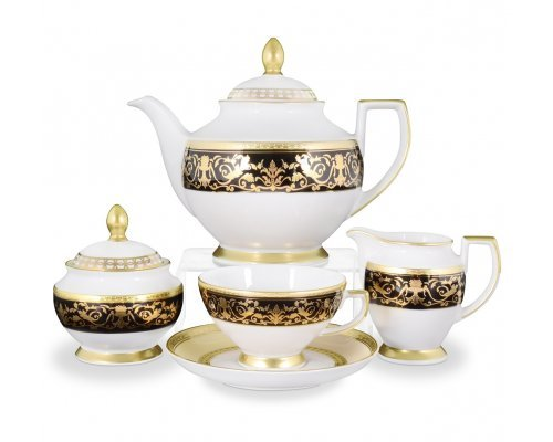 Чайный сервиз на 6 персон 17 предметов Falkenporzellan Harmony Crem Black
