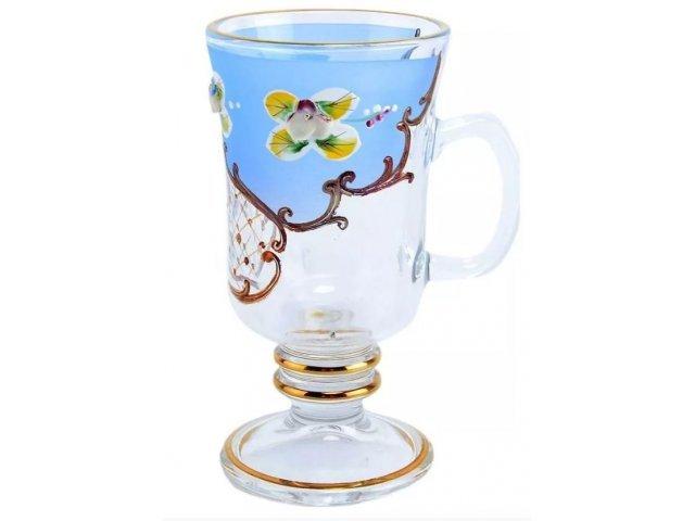 Набор кружек для воды 230 мл U-R фон Богемия Кристал (Bohemia Crystal) синий (6 шт)