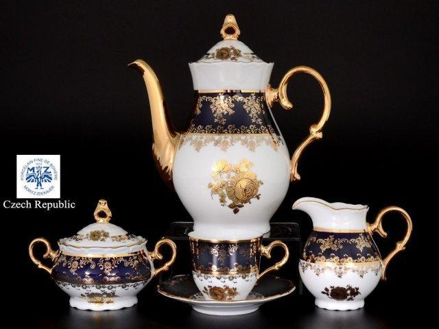 Кофейный сервиз на 6 персон 17 предметов Офелия Золотая роза Кобальт Мелкий узор Старорольский Фарфор (MZ)