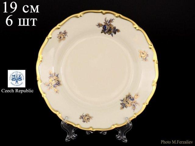 Набор тарелок 19 см Анжелика Слоновая кость синяя Роза Старорольский Фарфор (MZ) (6 шт)