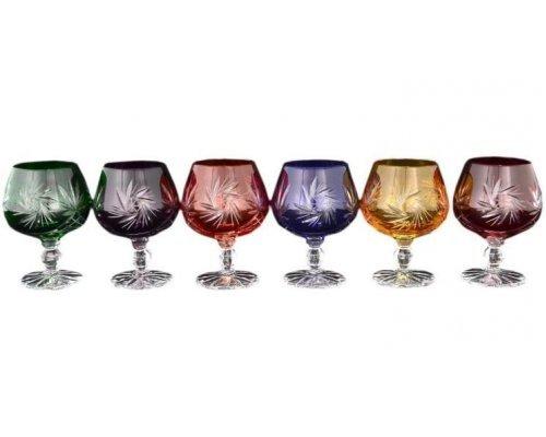 Набор бокалов для бренди 130 мл Цветной хрусталь Bohemia (Богемия) (6 шт)