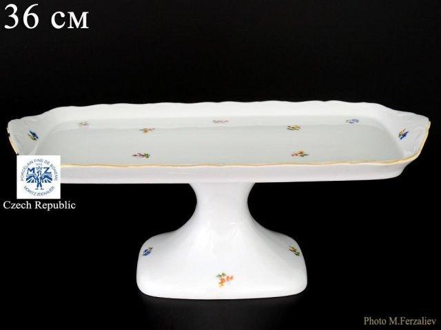 Поднос на ножке 36 см Офелия Мелкие цветы отводка золото Старорольский Фарфор (MZ)
