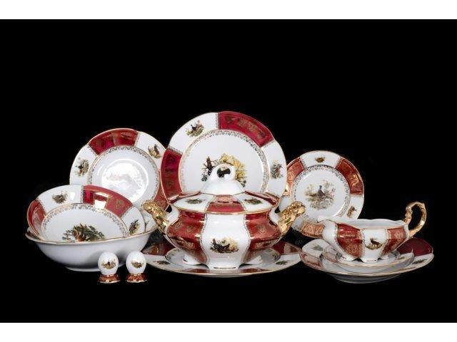 Столовый сервиз на 6 персон 28 предметов Охота Красная Барокко Royal Czech Porcelain