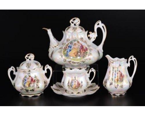 Чайный сервиз на 6 персон 15 предметов Мадонна перламутр Корона Queens Crown