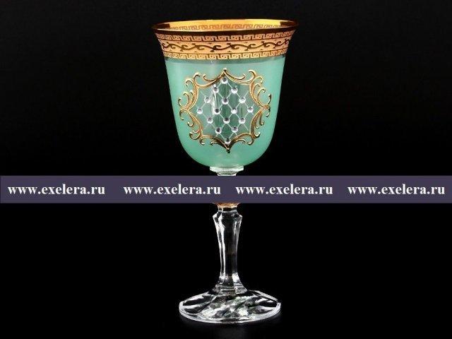 Набор бокалов для вина 220 мл Кристина Версаче Стразы R-G зеленый фон Bohemia (Богемия) (6 шт)