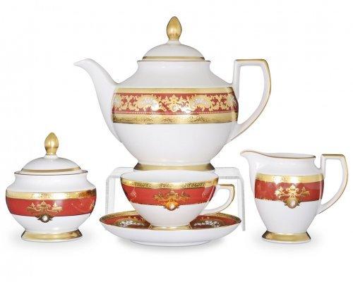 Чайный сервиз на 6 персон 17 предметов Falkenporzellan Alena 3D Bordeaux Gold Constanza