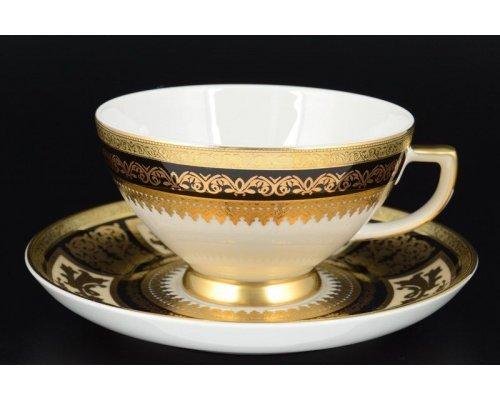 Набор чайных пар 250 мл Falkenporzellan Diadem Black Creme Gold