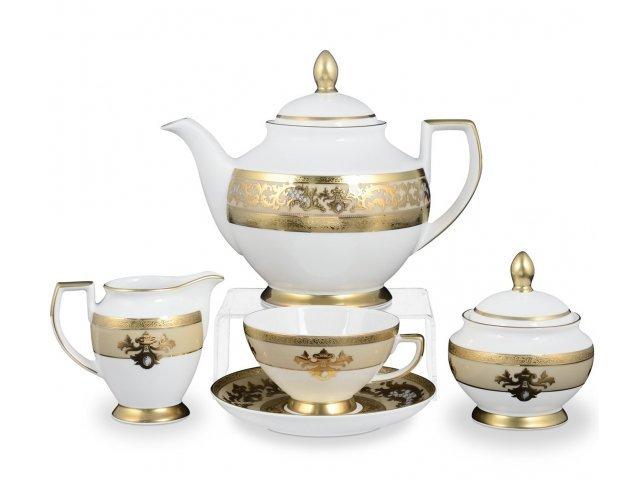 Чайный сервиз на 6 персон 17 предметов Falkenporzellan Alena 3D Crem Gold Constanza