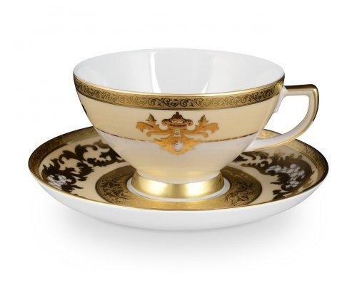 Набор чайных пар Falkenporzellan Alena 3D Creme Gold Constanza