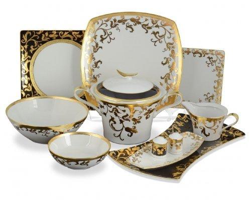 Столовый сервиз на 6 персон 27 предметов квадратный Falkenporzellan Tosca Black Gold