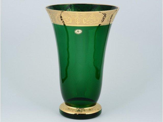 Ваза для цветов И-В зеленая Bohemia Crystal широкая 30 см
