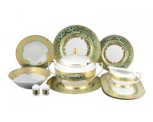 Столовый сервиз на 6 персон 27 предметов Falkenporzellan Natalia green gold