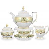 Чайный сервиз на 6 персон 17 предметов Falkenporzellan Natalia green gold