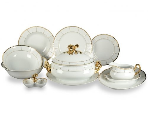 Столовый сервиз на 6 персон 27 предметов Тхун (Thun) Менуэт Отводка золото