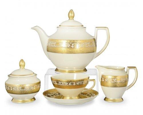 Чайный сервиз на 6 персон 17 предметов Falkenporzellan C-Creаm Royal Gold