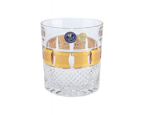 Набор стаканов для виски 320 мл Crystal Heart золотые окошки