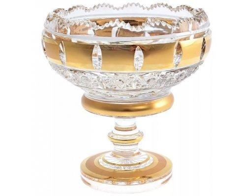 Конфетница 12 см Crystal Heart золотые окошки