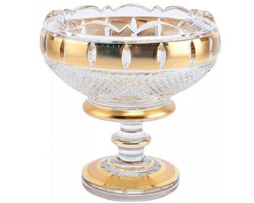 Конфетница 15 см Crystal Heart Золотые окошки