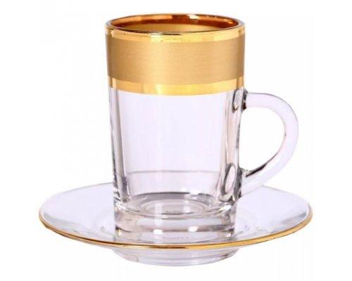 Набор чайных пар золото Bohemia Матовая полоса 170мл 6 пар
