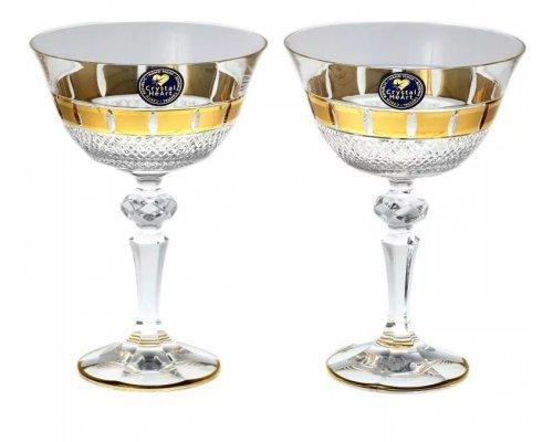 Набор бокалов для вина 180 мл Crystal Heart золотые окошки 2 шт