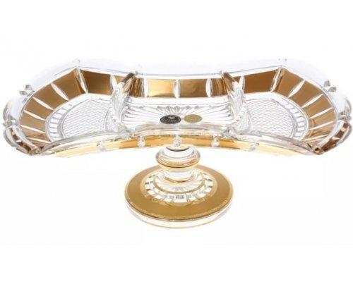 Менажница на ножке Crystal Heart золотые окошки 33см 35026