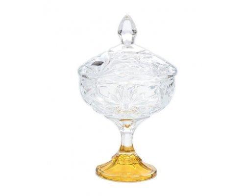 Конфетница 15 см на ножке с золотом U-R Богемия Кристал (Bohemia Crystal)