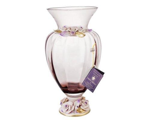 Ваза для цветов White Cristal бордовая широкая 40 см