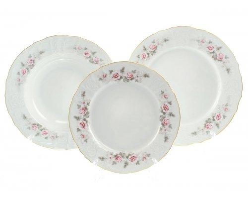Набор тарелок 18 предметов Бернадотт Серая роза золото