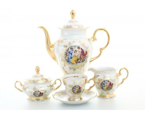 Кофейный сервиз на 6 персон 17 предметов Фредерика Мадонна Перламутр Карлсбад (Carlsbad)