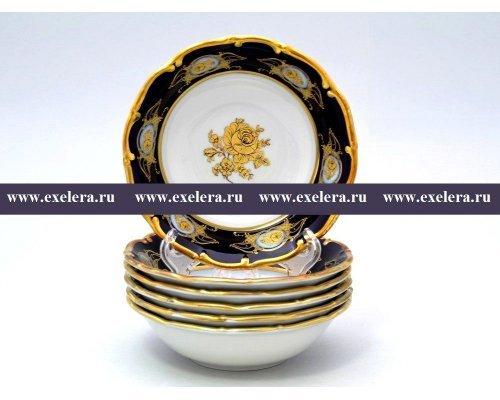 Набор салатников 13 см Анжелика Золотая роза Кобальт Винтаж Старорольский Фарфор (MZ) (6 шт)