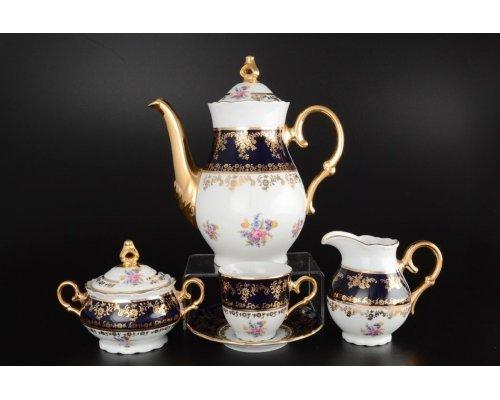 Кофейный сервиз на 6 персон 17 предметов Офелия Полевой цветок Кобальт Старорольский Фарфор (MZ)