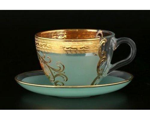 Набор чайных пар 220 мл Версачи Охота зеленая B-G Bohemia (Богемия) (6 пар)