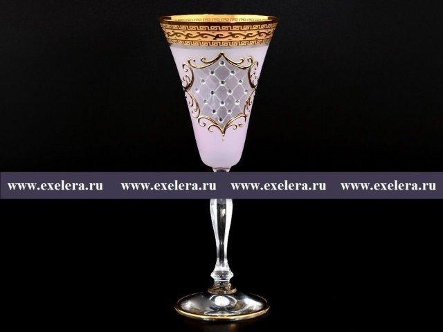 Набор бокалов для вина 190 мл Виктория Версаче Стразы R-G розовый фон Bohemia (Богемия) (6 шт)