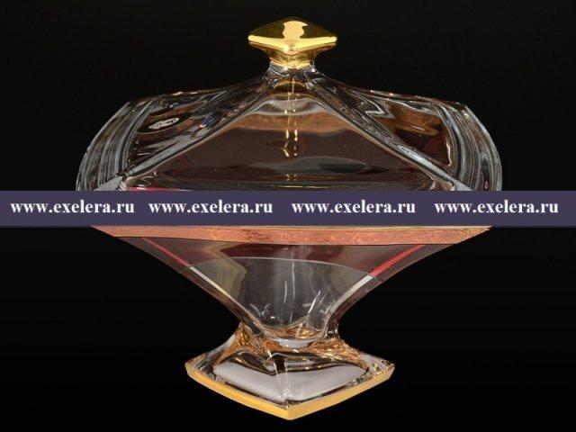 Конфетница с крышкой 22 см Quadro E-S Богемия Кристал (Bohemia Crystal)