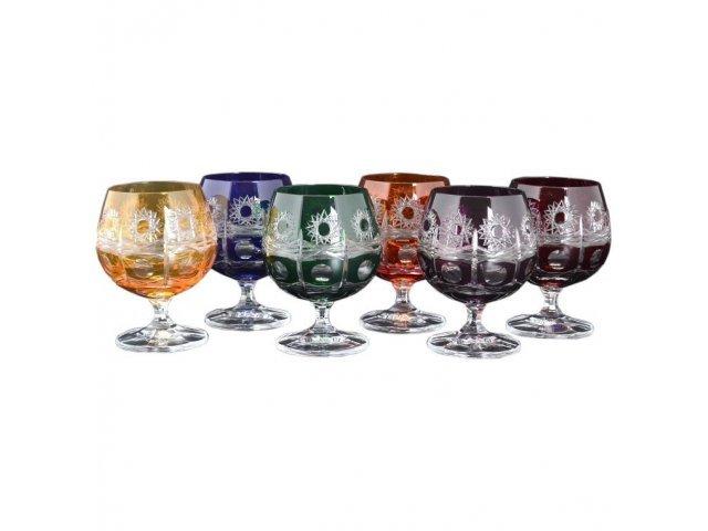 Набор бокалов для бренди 250 мл Цветной хрусталь Bohemia (Богемия) (6 шт)