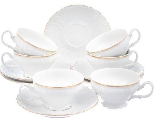 Набор чайных пар Bernadotte Белый узор 220 мл (6 пар)