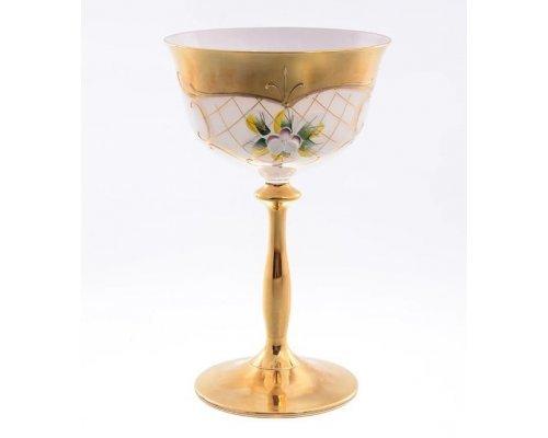 Набор бокалов для мартини 200 мл Богемия Кристал (Bohemia Crystal) Лепка Белая U-R золотая ножка (6 шт)