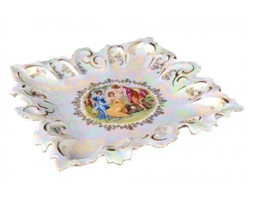 Блюдо фигурное квадратное 32 см Мадонна перламутр Корона Queens Crown