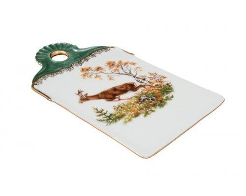 Доска для нарезки 24 см Охота зеленая Корона Queens Crown