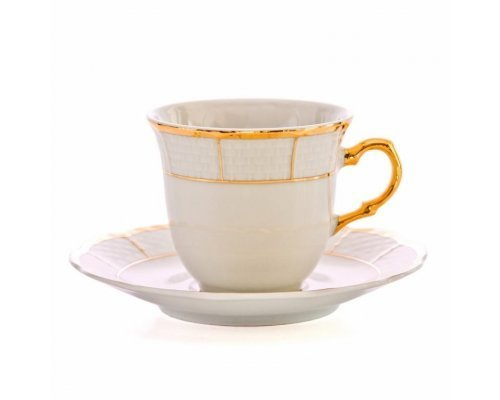 Набор кофейных пар Thun Менуэт Отводка золото 145 мл (6 пар)